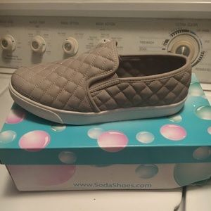 Brand new Soda size 8.5 gray slip on shoes
